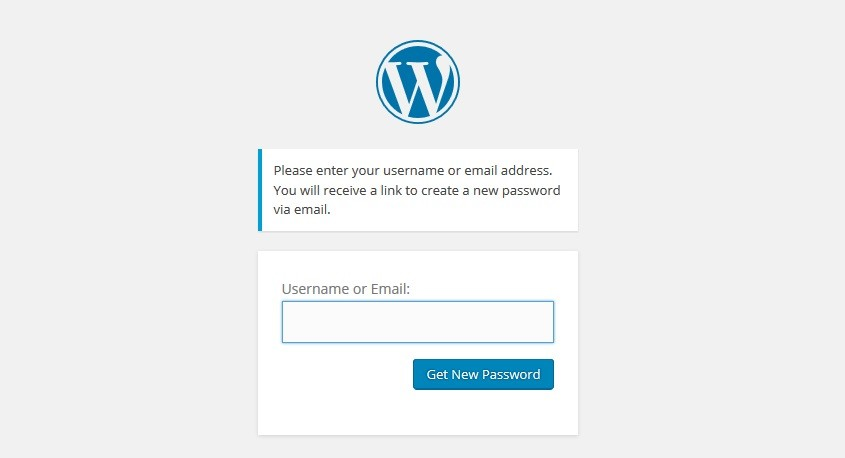 Wordpress Admin Login - Lost Password - Next